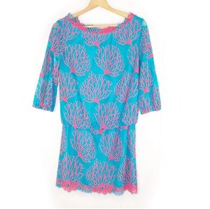 Lilly Pulitzer   Snorkel Coral Blue Cee Cee Dress
